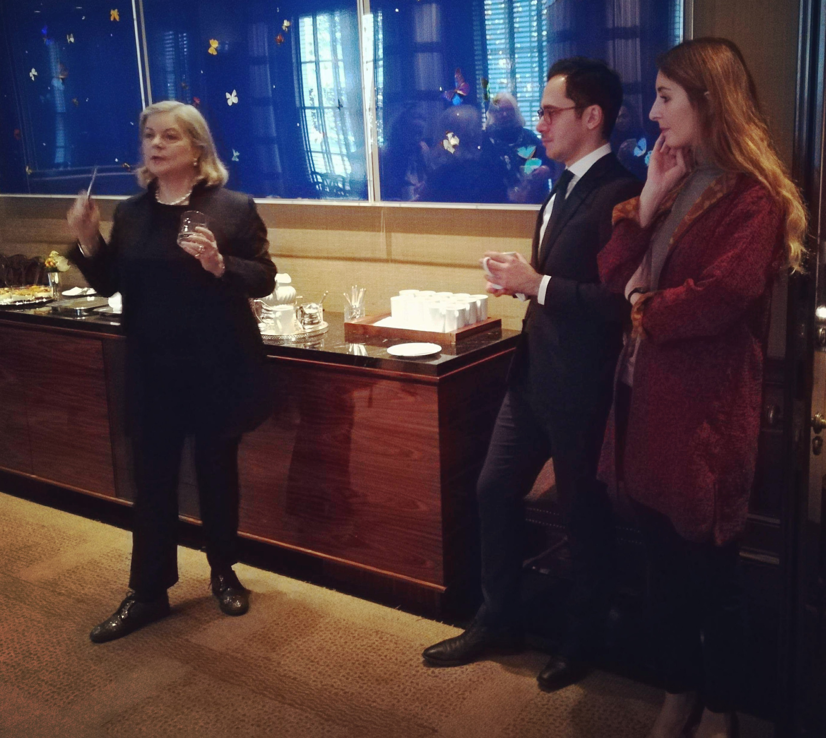 FAI UK Trustee Anna Somers Cocks OBE talking about FAI during the breakfast at Sotheby's